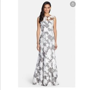 Tahari Grey and white floral organza evening gown